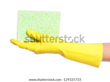 Woman hand in a rubber glove with napkin isolated on a white background