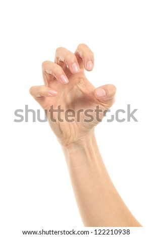 Woman hand in claw gesture on a white isolated background - stock photo
