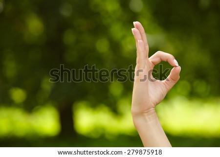 Woman hand in ok sign - stock photo