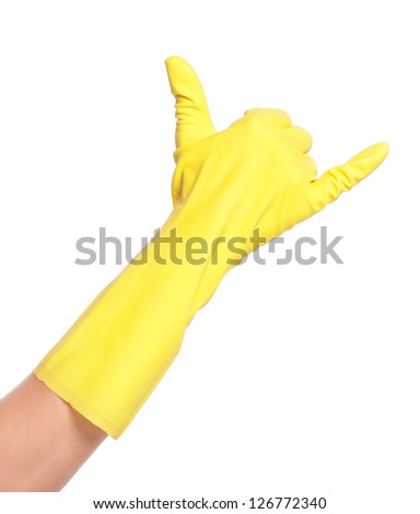 Woman hand in rubber glove isolated on white background