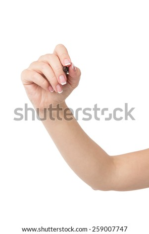 Woman hand is ready for writing with marker. Isolated on white background
