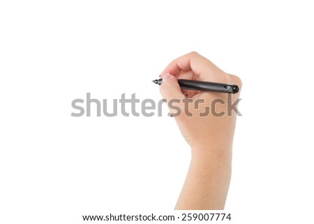 Woman hand is ready for writing with marker. Isolated on white background - stock photo