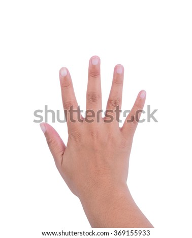 woman hand is showing five fingers isolated on white background