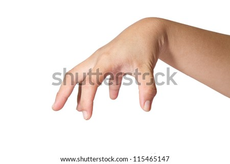 Woman hand Isolated on white.