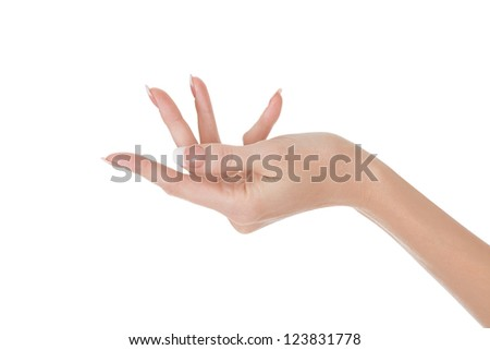 Woman hand isolated on white - stock photo