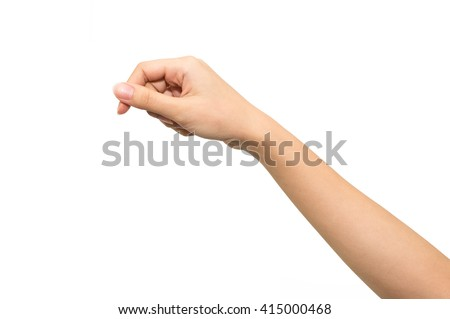 Woman hand isolated on white background , hold or catch