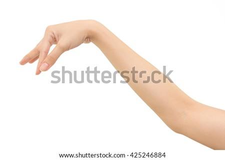 Woman hand keeping something isolated on white background - stock photo