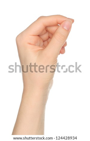 Woman hand like hold charge card on white backround - stock photo