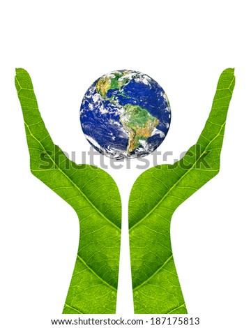 Woman hand made of green leaf holding the earth isolated on white background. Earth care concept. Elements of this image furnished by NASA