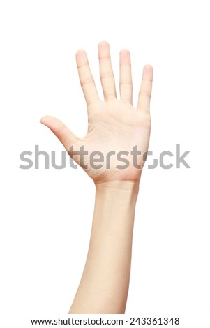 Woman hand making five sign isolated on white background. studio photo - stock photo