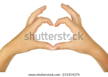 Woman hand making heart