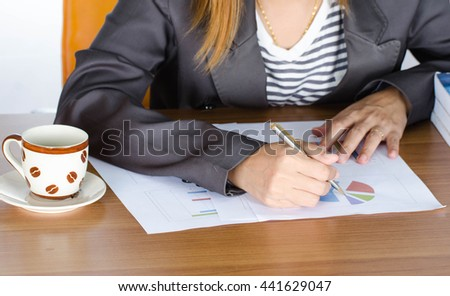 Woman hand of business working document