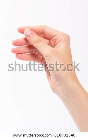 Woman hand of posture, isolated on white background