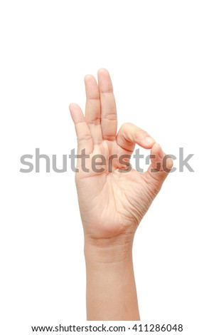 Woman hand  ok sign on white isolated background - stock photo