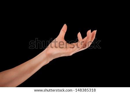 Woman hand on a isolated background
