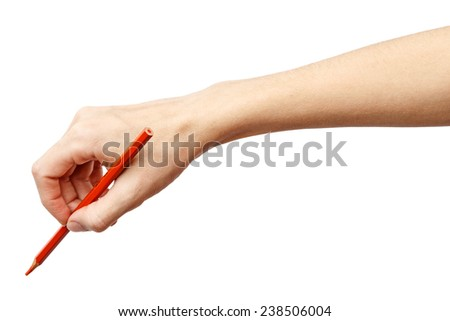 Woman hand on Isolated white background. Alpha. Hand with a pencil. - stock photo