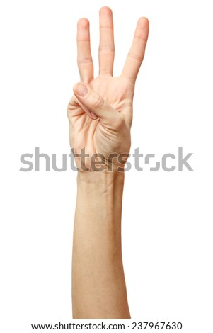 Woman hand on Isolated white background. Alpha. Three fingers. 3 - stock photo