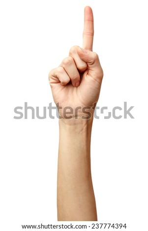 Woman hand on Isolated white background. Alpha. Thumbs up. Finger up.