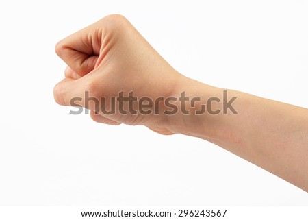 Woman hand on white background with clipping path