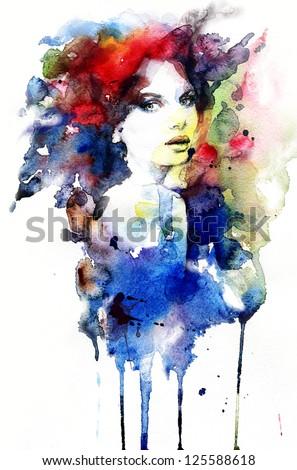 Woman . Hand painted fashion illustration - stock photo
