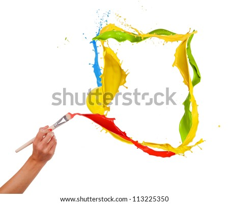 Woman hand painting splashes frame, isolated on white background - stock photo