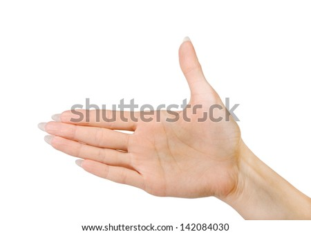 Woman hand palm gesture isolated on white background. - stock photo