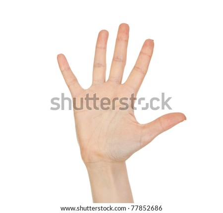 Woman hand (palm) isolated on white background. Empty hand isolated on white