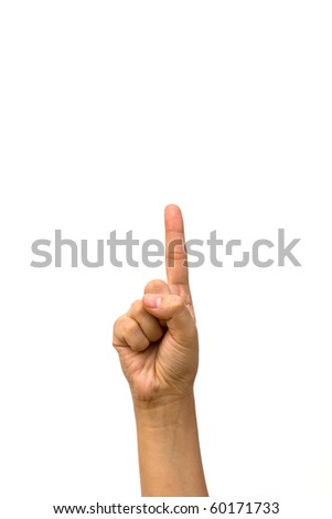 Woman hand (point up) isolated on white background