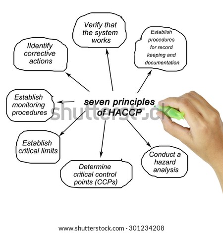 Woman hand pointing element of HACCP principle on white background  for used in manufacturing.