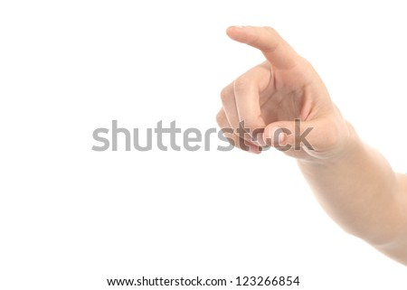 Woman hand pointing or pushing with forefinger on a white isolated background