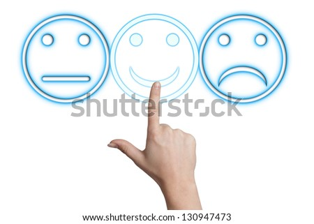 woman hand pointing to a smiling button on white background