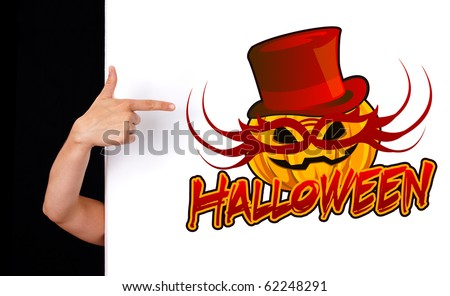 woman hand pointing to halloween sign, isolated on white