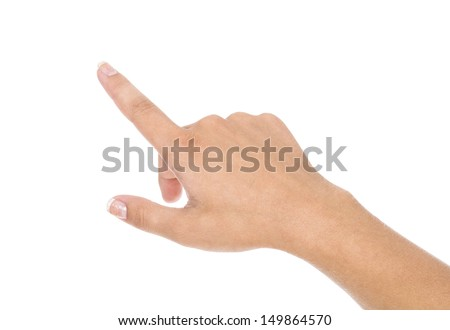 woman hand pointing up with index finger - stock photo