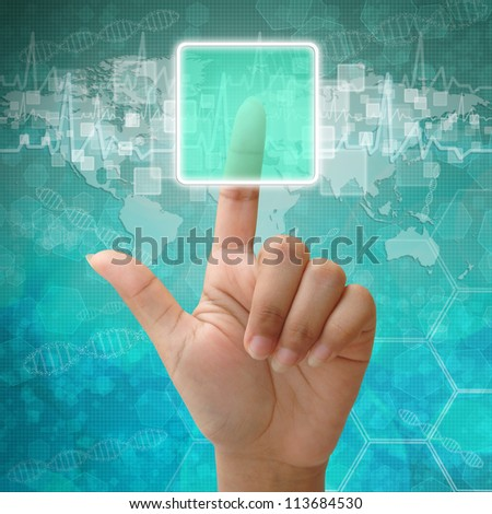 Woman hand press on blank icon on medical background - stock photo