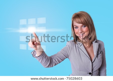woman hand pressing digital buttons