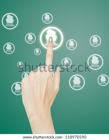 woman hand pressing social network
