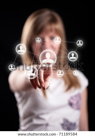 Woman hand pressing social network icon, backround in bokeh - stock photo