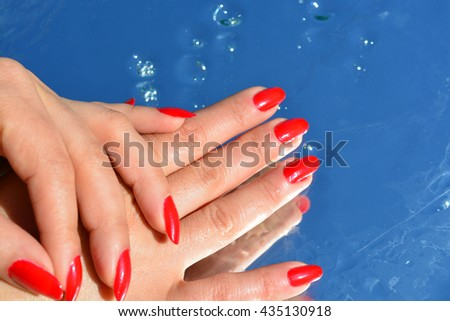 woman hand, pure water