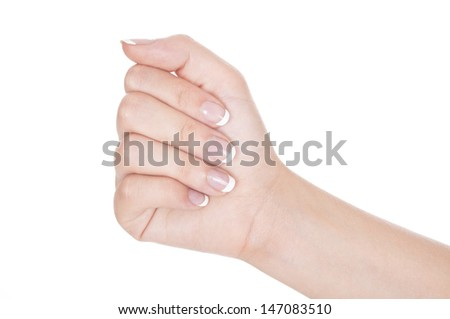 Woman hand raised up. Isolated on white background.