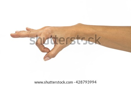 woman hand show strum symbol on isolated white background