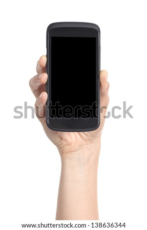 Woman hand showing a black mobile phone screen isolated on a white background - stock photo