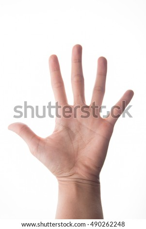 Woman hand showing 5 fingers