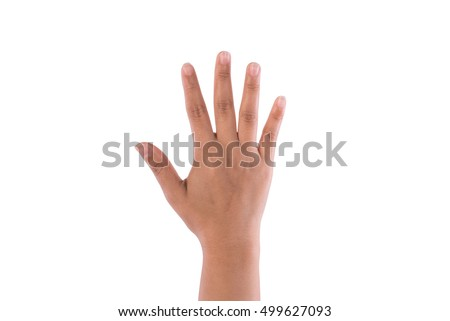 Woman hand showing five fingers.