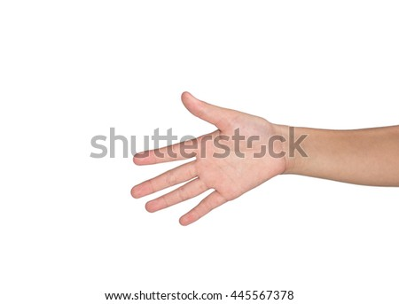 Woman hand showing on white background