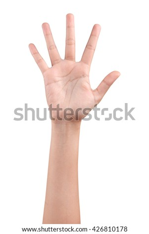 Woman hand showing the five fingers isolated on a white background - stock photo