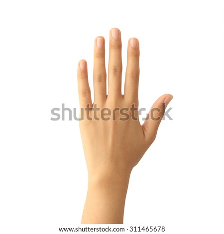 Woman hand showing the five fingers isolated on white background - stock photo