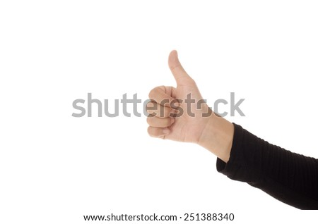 Woman hand showing thumbs up sign against white background - stock photo