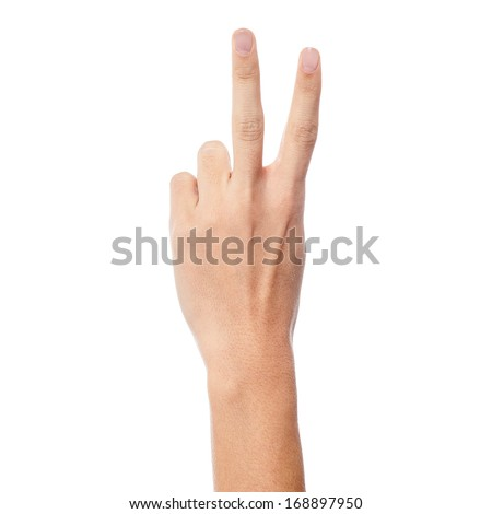 Woman hand showing two count