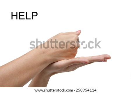 Woman hand  sign HELP ASL american sign language - stock photo