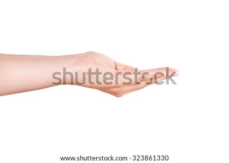 Woman hand sign isolated on white background